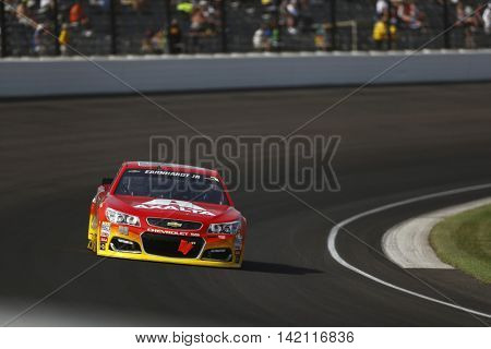 Speedway, IN - Jul 24, 2016: Jeff Gordon (88) battles for position during the Combat Wounded Coalition 400 at the Indianapolis Motor Speedway in Speedway, IN.