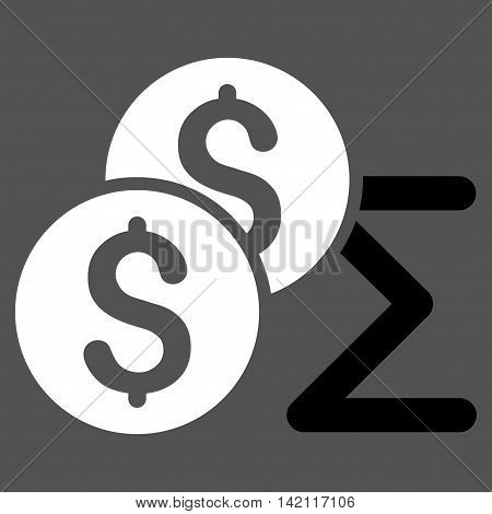 Coin Summary icon. Vector style is bicolor flat iconic symbol with rounded angles, black and white colors, gray background.