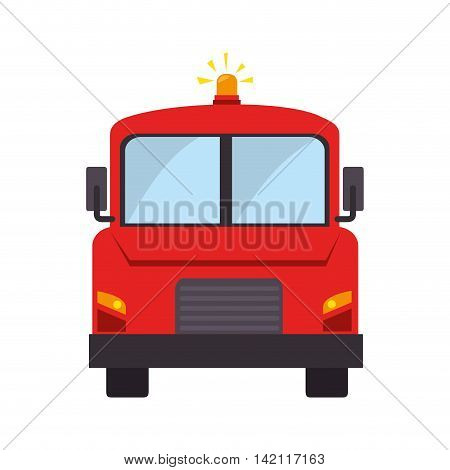 firetruck front car camion fireman rescue hose button ladder vector graphic isolated illustration