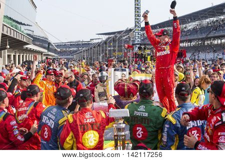 Speedway, IN - Jul 24, 2016: Kyle Busch (18) wins the Combat Wounded Coalition 400 at the Indianapolis Motor Speedway in Speedway, IN.