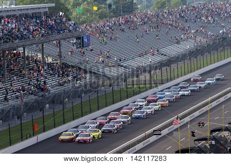 Speedway, IN - Jul 24, 2016: The NASCAR Sprint Cup Series race for the Combat Wounded Coalition 400 at the Indianapolis Motor Speedway in Speedway, IN.
