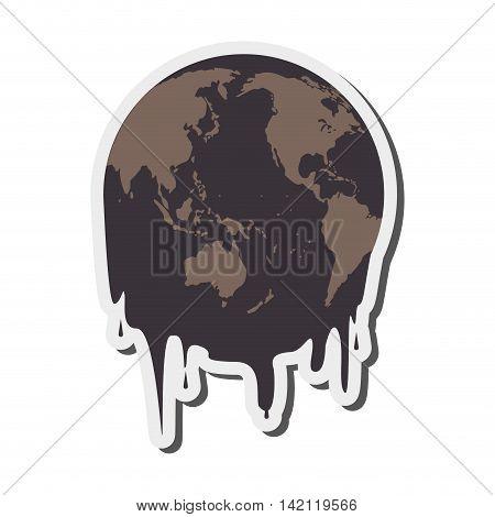 flat design earth oil melting icon vector illustration