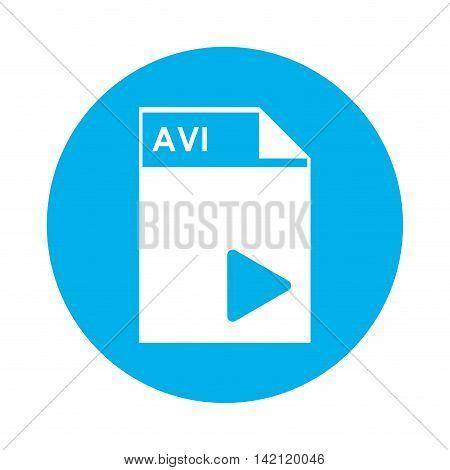 flat design AVI file icon vector illustration
