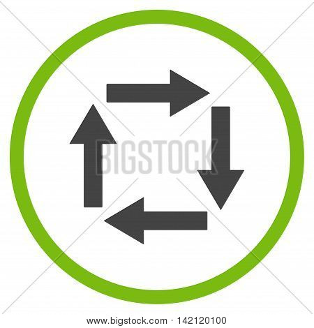Circulation Arrows vector icon. Style is bicolor flat rounded iconic symbol, circulation arrows icon is drawn with eco green and gray colors on a white background.