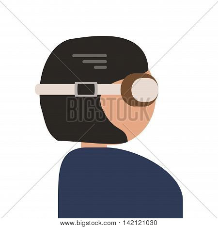 flat design person with flying goggles icon vector illustration