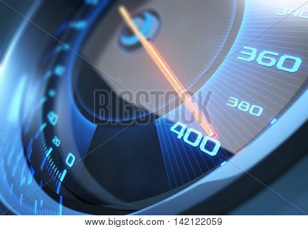 3D illustration. Speedometer scoring the fastest speed. Depth of field with focus on 400.