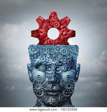 Business intelligence and innovation technologies concept as a metaphor for creative industry imagination or engineering creativity icon as a 3D illustration.