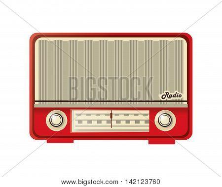 flat design retro radio icon vector illustration