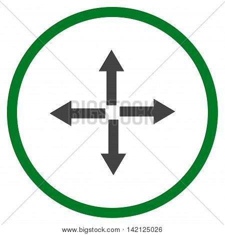 Expand Arrows vector icon. Style is bicolor flat rounded iconic symbol, expand arrows icon is drawn with green and gray colors on a white background.