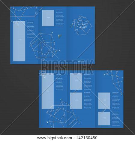 Simplicity Tri-fold Brochure Template Design With Elegant Polygon Element