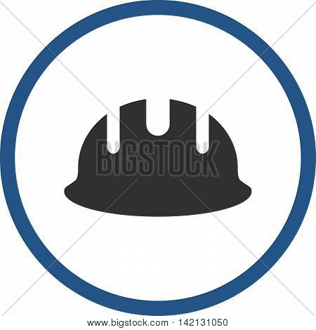 Builder Hardhat vector icon. Style is bicolor flat rounded iconic symbol, builder hardhat icon is drawn with cobalt and gray colors on a white background.