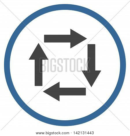 Circulation Arrows vector icon. Style is bicolor flat rounded iconic symbol, circulation arrows icon is drawn with cobalt and gray colors on a white background.