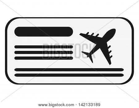 flat design boarding pass icon vector illustration