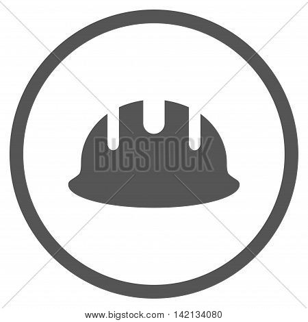 Builder Hardhat vector icon. Style is flat rounded iconic symbol, builder hardhat icon is drawn with gray color on a white background.