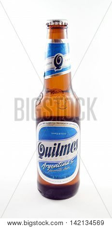 NEW YORK NY - AUGUST 10th 2016: Bottle of Quilmes beer from Argentina