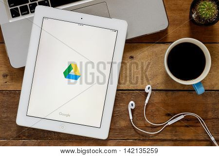 CHIANGMAI THAILAND -July 10 2016: Google Drive apps showing on Ipad 4.Google Drive is a free and have all files within reach from any smartphone tablet or computer.