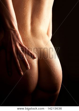 Nude Wet Female Body In Back-lighting