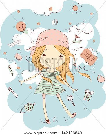 Illustration of a Little Girl in a Dress and Bandana Surrounded by Travel Essentials