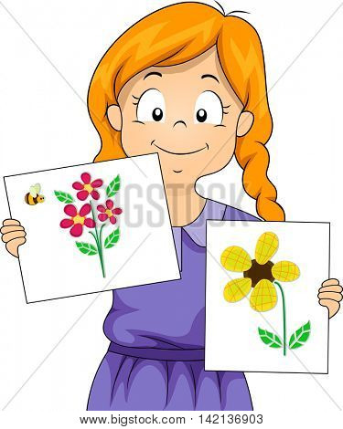 Illustration of a Little Girl Presenting Her Drawing of Flowers Using Scrap Materials