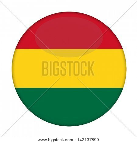 3d Rastafarian Flag button isolated on a white background.