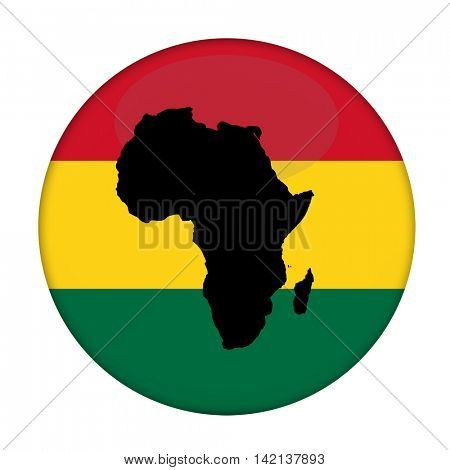 Continent of Africa flag button in Rastafarian colours on a white background.