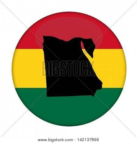 Egypt map on a Rastafarian flag button, white background.