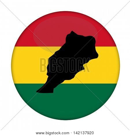 Morocco map on a Rastafarian flag button, white background.
