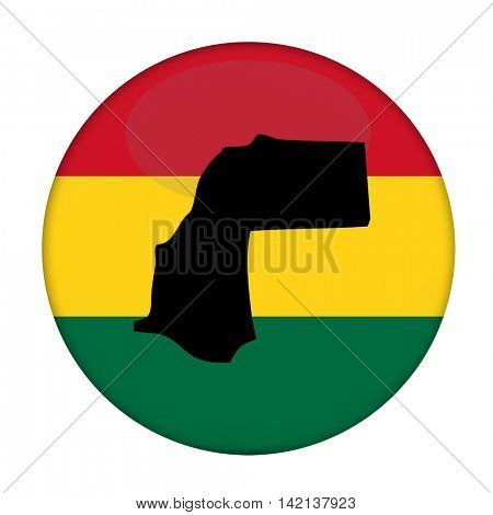 Western Sahara map on a Rastafarian flag button, white background.