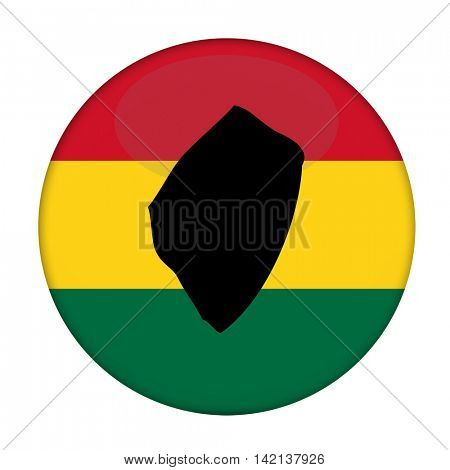 Swaziland map on a Rastafarian flag button, white background.