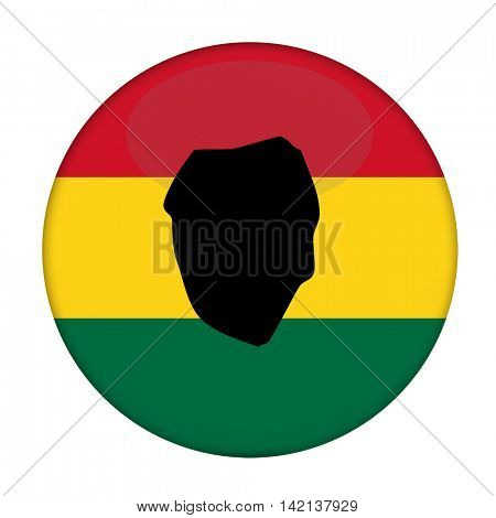 Sierra Leone map on a Rastafarian flag button, white background.