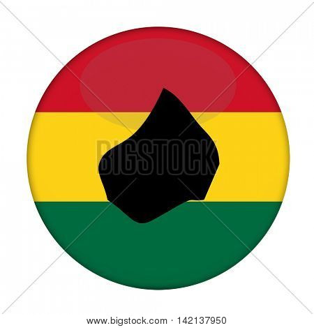 Lesotho map on a Rastafarian flag button, white background.