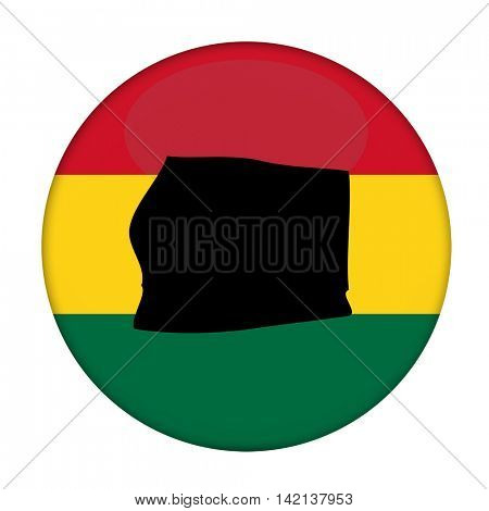 Equatorial Guinea map on a Rastafarian flag button, white background.