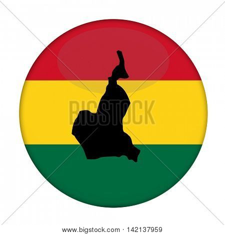 Cameroon map on a Rastafarian flag button, white background.