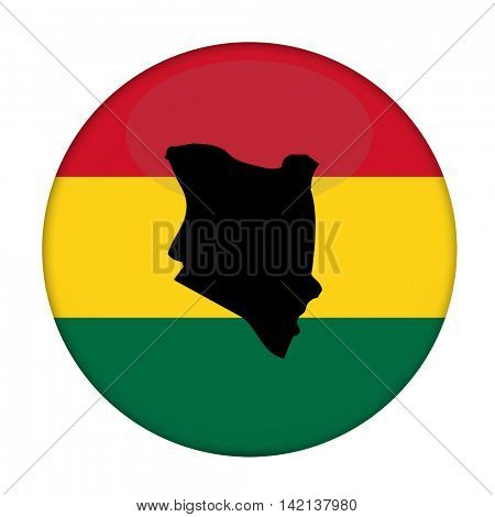 Kenya map on a Rastafarian flag button, white background.