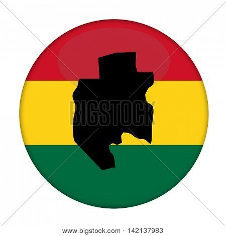 Gabon map on a Rastafarian flag button, white background.