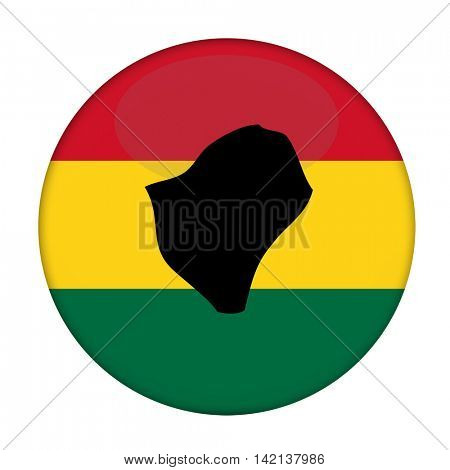 Burundi map on a Rastafarian flag button, white background.