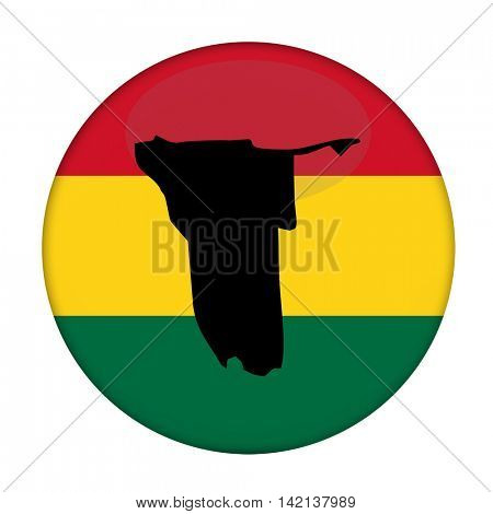 Namibia map on a Rastafarian flag button, white background.