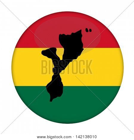 Mozambique map on a Rastafarian flag button, white background.