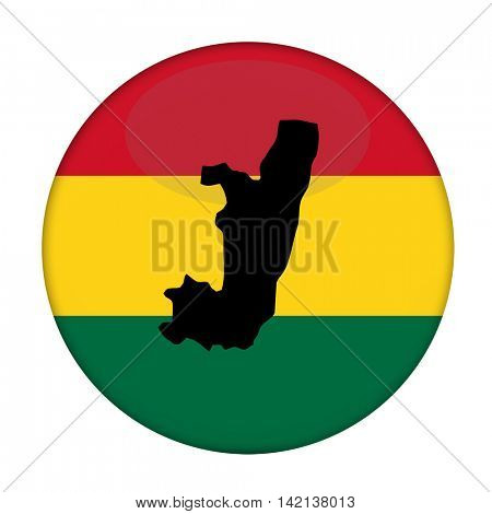 Congo map on a Rastafarian flag button, white background.