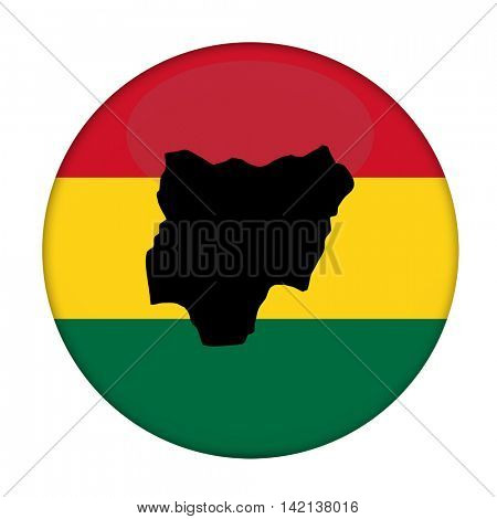 Nigeria map on a Rastafarian flag button, white background.