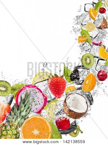 Mix of fruit in water splash and ice cubes, isolated on white background