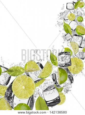 Pieces of limes in water splash and ice cubes, isolated on white background