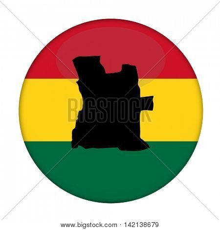 Angola map on a Rastafarian flag button, white background.