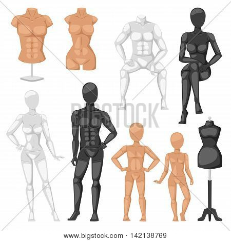 Vector isolated dummy mannequin model. Different poses colors dummy mannequin model male and female icons. Beautiful attractive sculpture plastic dummy mannequin model figure silhouette, female head.