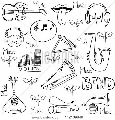 Doodle of music element stock collection vector illustration