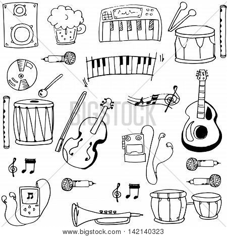 Object music pack doodles vector stock collection