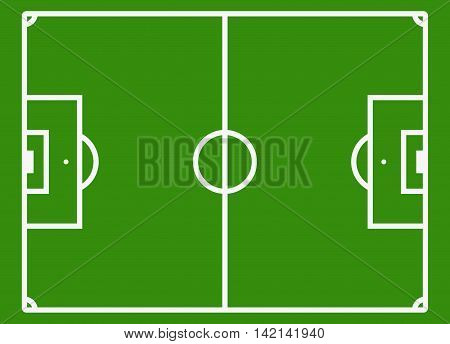 Soccer field or football pitch. Football stadium for competition play, vector illustration