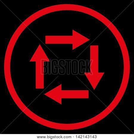 Circulation Arrows vector icon. Style is flat rounded iconic symbol, circulation arrows icon is drawn with red color on a black background.