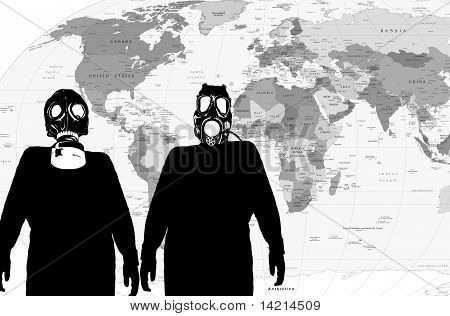 Illustration of a man with anti radiation mask