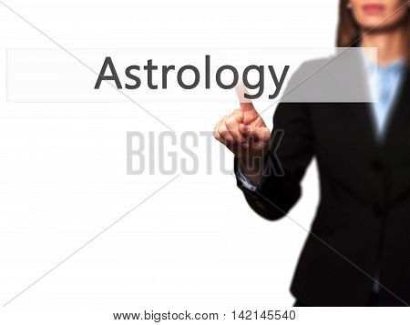 Astrology - Isolated Female Hand Touching Or Pointing To Button